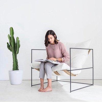 懶人沙發北歐單人鐵藝沙發椅懶人款網紅布藝創意簡約現代沙發客廳臥室民宿