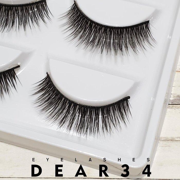 《Dear34》3D立體款水貂毛005黑梗眼中長小濃密根根分明假睫毛上睫毛一盒五對價