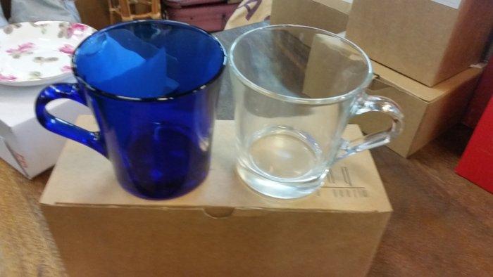 宏品二手傢俱館~家具拍賣~X5-1229-6水藍玻璃對杯*碗盤/湯碗/小家電.廚房器具.鍋碗瓢盆.各式器具大特價*