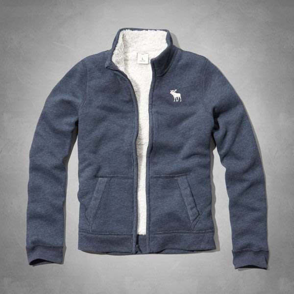 abercrombie kids_sherpa lined sweatshirt 帥氣羊絨內襯立領夾克/外套與美同步新品