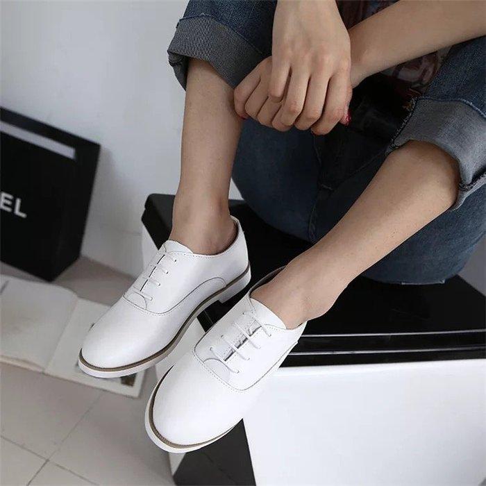 牛皮真皮 素面百搭基本款綁帶學院風皮鞋 紳士鞋 小白鞋 二色 35-40 特價《BRITISH WAVE》