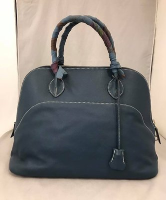 【RECOVER 名品二手】HERMES 藍色軟皮革35cm bolide 柏莉包 手提包.100% 愛馬仕 真品 .