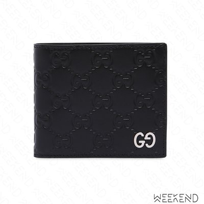 【WEEKEND】 GUCCI GG SIGNATURE logo 壓紋 經典 小牛皮 皮夾 短夾 黑色 17秋冬新款