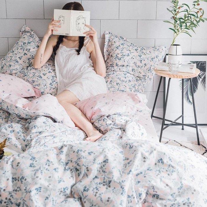 床上用品四件套秋季新款韓款碎花田園唯美棉質床單床笠款1.5m