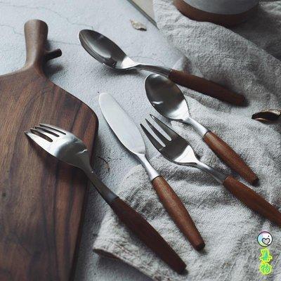 (2件免運)本該是這樣。復古厚實柚木親子不銹鋼西餐餐具套裝牛排刀叉勺 集物生活