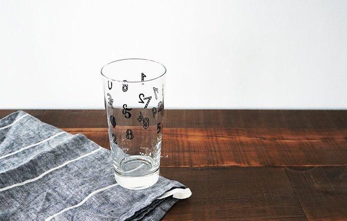 京都 souvenir 數字 造型 黑白 兩色 水杯 玻璃杯