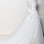 【彩妝大師】二手極新/歐美婚紗禮服訂製綁帶/韓版白色立體蕾絲花豪華禮服拖尾版
