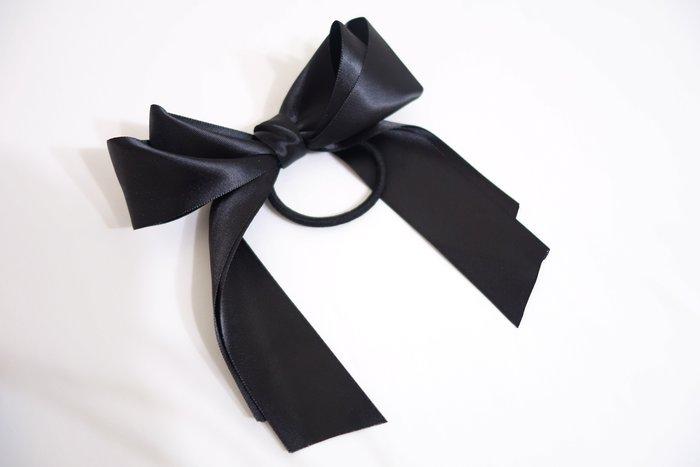 SE 正韓黑色 奧黛麗赫本氣質款進口緞帶蝴蝶結髮圈 髮飾 髮束 馬尾髮束現貨