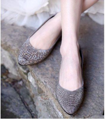 ~皮皮創~原創設計真皮尖頭單鞋女水鑽鞋...