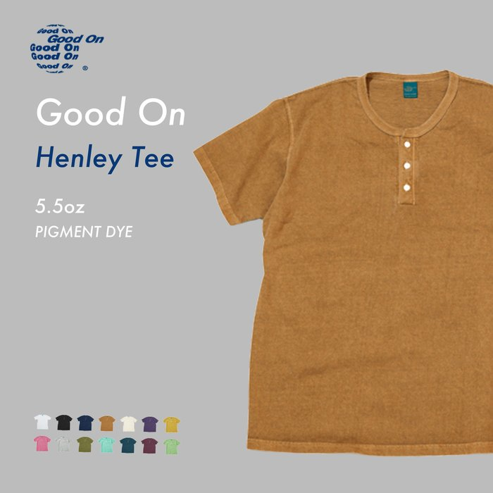 WaShiDa【GOST1102P】Good On 日本品牌 染色 5.5oz 美國棉 亨利領 素面 短袖 T恤