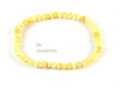 稀有奶黃 De Josephina 立陶宛天然 頂級松香琥珀小巧手鍊  (6-4)(原2400)清貨賠售