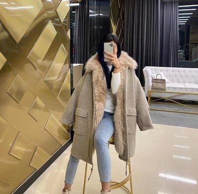 全貉整皮毛領 《灰色》純羊毛大衣2件套   名媛  貴婦 預購 售完不補