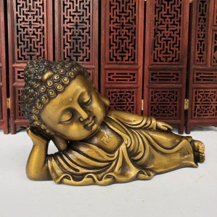 【弘慧堂】古玩古董雜項純銅臥佛自在佛招財辟邪裝飾農村老物件收藏品
