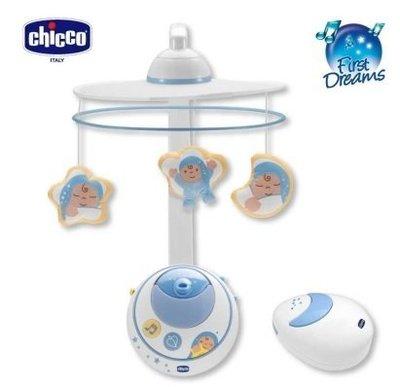 【魔法世界】Chicco 三合一魔法天使旋轉音樂鈴(附遙控)+LED投影投射 藍 買及贈 chicco 彈性矽膠學習湯匙