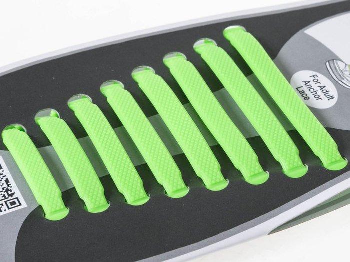 【幸福二次方】矽膠懶人鞋帶 成人款一組8對裝 免綁鞋帶 安全矽膠鞋帶 – 綠 FA-38241