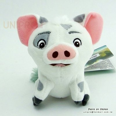 【UNIPRO】迪士尼 海洋奇緣 MOANA 小豬 PUA 11公分 坐姿 絨毛娃娃 珠鍊吊飾 包包吊飾 正版授權