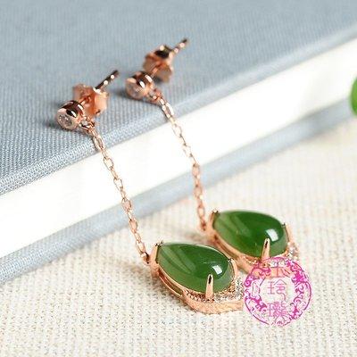☯玉玲瓏☯925銀鑲嵌天然菠菜綠碧玉水滴耳墜 正品和田玉耳環女款耳飾
