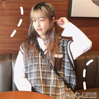 針織馬甲女裝韓版原宿風中長款針織背心學生寬鬆無袖套頭毛衣馬甲外套