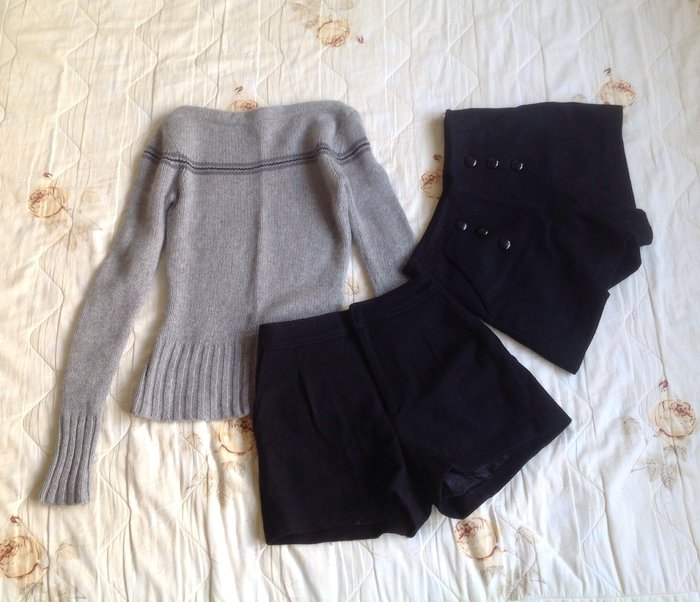 EMODA  帥氣黑色暖暖羊毛褲 S號