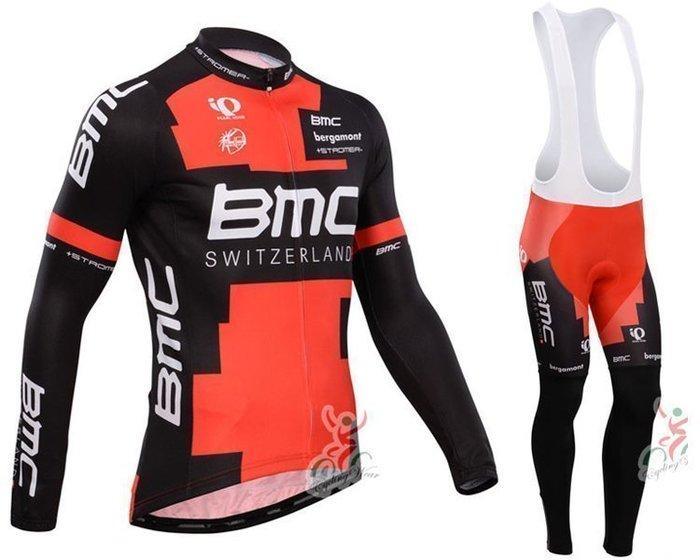 【綠色運動】2014款BMC黑紅 自行車衣長袖款 騎行服 單車服 自行車服 吊帶腳踏車服 車衣車褲背帶長套裝
