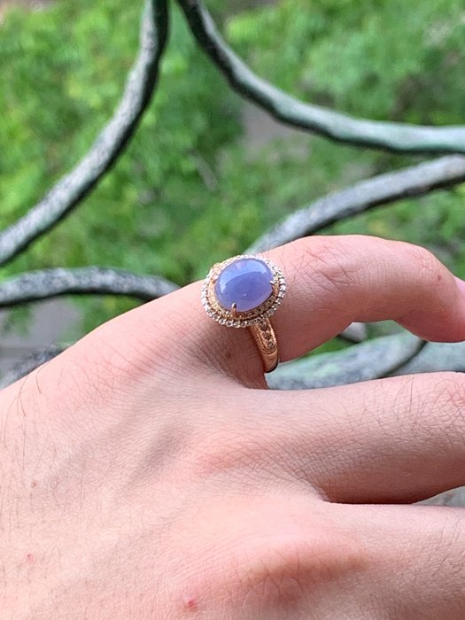 翡翠A貨~濃紫羅蘭~美戒~18K金750鑲嵌天然鑽石~戒指~鑽戒~翡翠戒指~直購