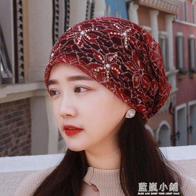 包頭帽女蕾絲頭巾帽套頭帽化療帽子女薄夏透氣光頭帽堆堆帽空調帽 小鋪