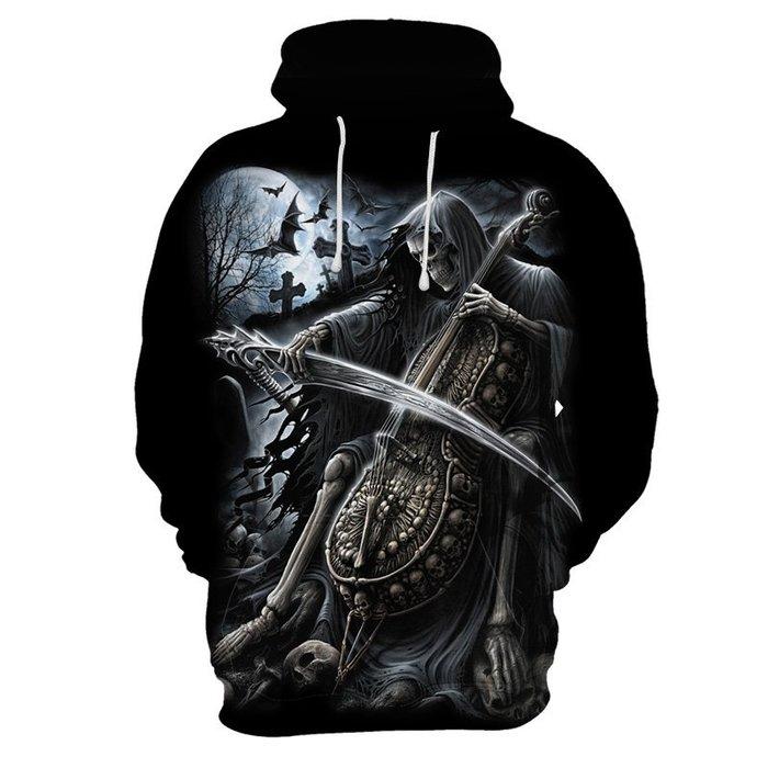 『潮范』  N4 外貿新款3D數碼印花連帽衛衣 長袖T恤 潮T恤 套頭衫 連帽T恤 骷髏圖案T恤