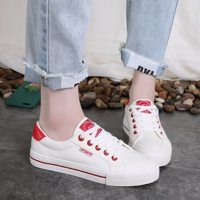 FINDSENSE品牌 四季款 新款 日本 女 高品質 簡約 清新 百搭 舒適  繫帶 白色 帆布鞋 休閒鞋  潮流鞋子