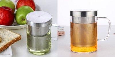 (玫瑰Rose984019賣場)玻璃泡茶杯450cc(加深不銹鋼濾網)~辦公室水杯.有把花茶杯.耐熱150度/LINOX
