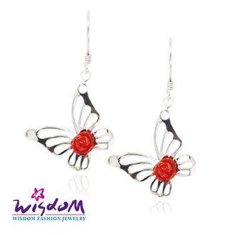 威世登 天然海洋紅珊瑚 蝴蝶銀耳環-情人禮、生日禮、流行款、熱銷款- JCF00044-DHCX