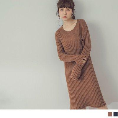加大碼 全尺碼 FA1849 純色粗坑條針織洋裝