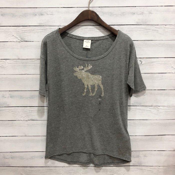 Maple麋鹿小舖 abercrombie&fitch * a&f 女童款灰色亮粉麋鹿短T*( 現貨XL號 )