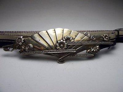 日本---純銀--和服--腰帶扣--扇子【三義 { 九怪古美術 } 日本鐵壺專賣店】