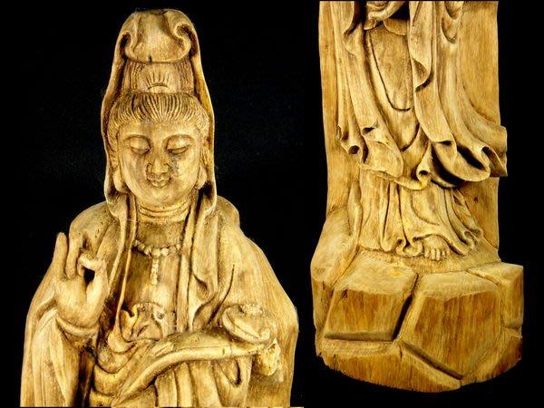 [福田工藝]加里曼丹原木雕如意觀音/古樸典雅木質堅硬香味清醇[觀5]
