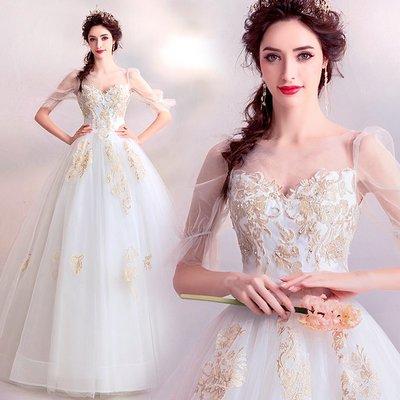 新年婚禮禮服婚紗禮服宴會禮服奢耀金絲 夢幻仙靈燈籠紗袖公主新娘齊地婚紗禮服