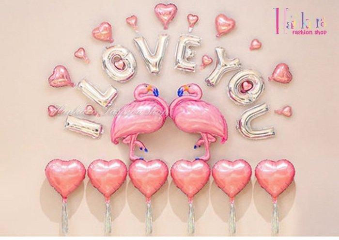 ☆[Hankaro]☆ 歐美派對裝飾用品浪漫求婚婚禮紅鶴造型鋁膜氣球套裝組F