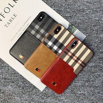 丁丁 iPhone X XS Max XR 簡約生活格子條紋皮革插卡手機殼 蘋果 5.8 6.5吋 抗震防摔 手機保護套