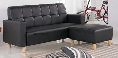 【DH】貨號N202-1《凡賽爾》黑乳膠皮L型沙發˙含腳椅˙質感一流˙簡約設計˙主要地區免運
