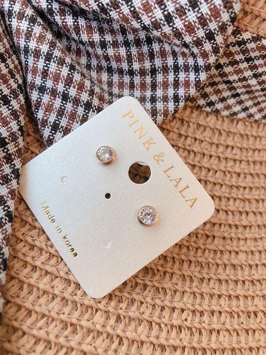 【PINKLALA】經典單鑽抗敏耳環永久不褪色