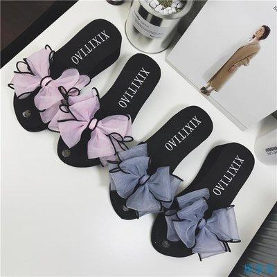 居家家  新款涼拖鞋女夏時尚外穿厚底坡跟蝴蝶結一字拖海邊度假防滑沙灘鞋