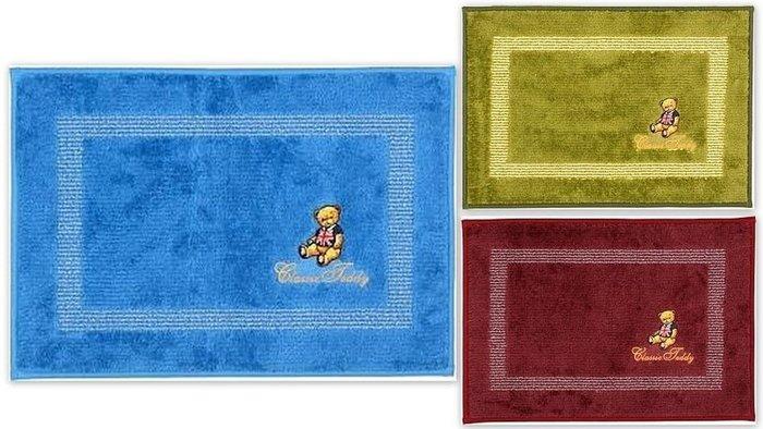 蘇菲亞精品傢飾~經典泰迪熊繡花門墊/草綠色/藍色/暗紅色/三款色