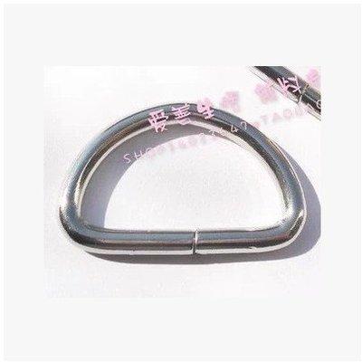包包配件 包扣 包鏈 包帶 包配件 包帶扣 環扣 亮白色金屬D扣半圓環 連接扣 內徑3.2CM
