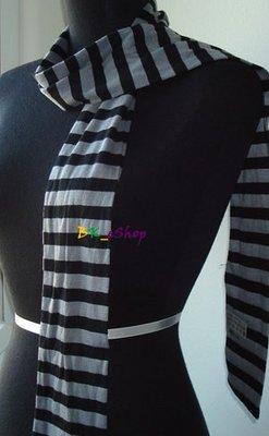 【美衣大鋪】☆  PaPaYa ☆黑灰條紋圍巾