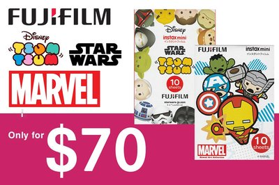 [DJS COMMERCE] Fujifilm instax mini Marvel 復仇者聯盟 Star Wars Tsum Tsum 即影即有相紙組合