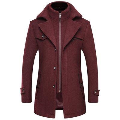 毛呢大衣 中長版風衣-假兩件純色修身休閒男外套5色73wk3[獨家進口][米蘭精品]