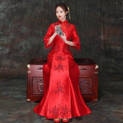 囍服 新娘服 敬酒服 中式婚紗秀禾服新娘秋冬新款紅色結婚婚服敬酒服中式婚紗禮服古裝嫁衣