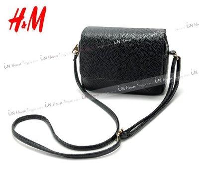 IN House* 瑞典H&M HM 仿皮 小巧簡約 肩背包 小方包 枕頭包 翻蓋 款 黑 (特價)