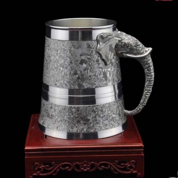 5Cgo【茗道】含稅會員有優惠  9571505726 中國斑錫産自錫都個舊錫杯啤酒杯水杯茶杯錫器象頭杯子裝茶杯泡茶