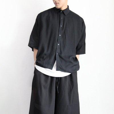 ∵ PRAY FOR FASHION ∴日系不規則設計剪裁前短後長五分半袖素面襯衫