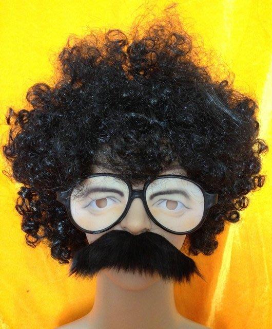 爆炸頭 兩津勘吉 搞笑人物裝扮 假髮 眼鏡 鬍子(三件套餐) 萬聖節/派對/服裝/角色扮演/變裝【P33000601】